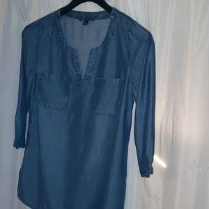 Lands End  size 6 Denim Tunic blouse